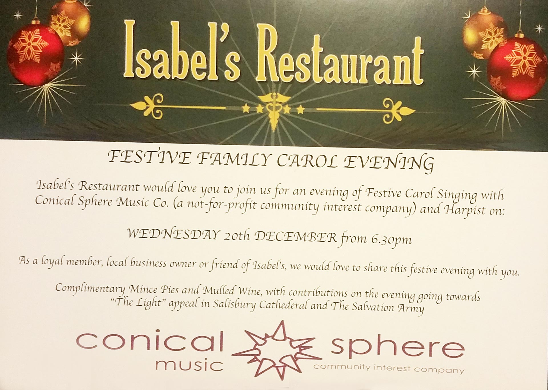 Carol Singing Isabel's Restaurant Ashley Cross Poole
